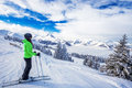 Young woman skiing in Kitzbuehel ski resort and enjoying the bea Royalty Free Stock Photo
