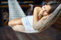 Young woman sleeping in a hammock beautiful Royalty Free Stock Photos