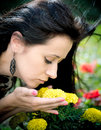 Young woman smelling flowers beautiful yellow in garden Stock Image