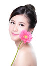 Young woman smile face with flower flowers in her hands isolated on white background asian Stock Photo