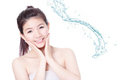 Young woman smile face skincare with water Stock Photos