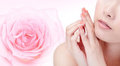 Young woman smile mouth with pink rose flower Stock Photos