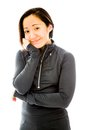 Young woman smiling with her hand on chin adult caucasian isolated a white background Stock Photos