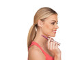 Young woman smokin electic cigarette smoking e on white background Royalty Free Stock Photo