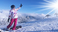 Young woman snowboarder in mountains Royalty Free Stock Photo