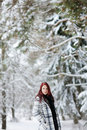 Young woman in snowy forest Royalty Free Stock Image