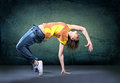 Young woman sport dress dancing zumba Royalty Free Stock Photography