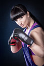 Young woman sport dress tae bo boxing exercise Royalty Free Stock Photo