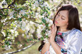 Young woman with spring flowers Royalty Free Stock Photo