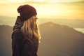 Young Woman standing alone outdoor Royalty Free Stock Photo