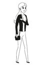 Young woman standing bag outline