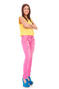 Young woman standing with hands folded Royalty Free Stock Photos