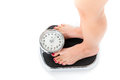 Young woman standing on a scale diet and weight only feet to be seen Royalty Free Stock Photo