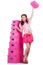 Young woman with storage boxes on white Stock Photo