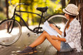 Young woman studying beautiful at the park Royalty Free Stock Photo