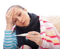 Young woman suffering influenza feel unwell Stock Photo