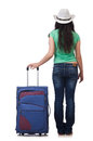 Young woman with suitcase isolated on white Stock Photos