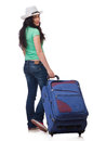 Young woman with suitcase isolated on white Royalty Free Stock Photography