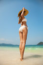 Young woman sunbathing at tropical beach slim Stock Photography