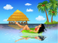 Young woman sunbathing vector illustration of a beautiful on her swimming tube Royalty Free Stock Photography
