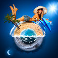 Young woman on sunny beach warm and cold planet concept Royalty Free Stock Photo