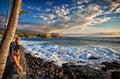Young Woman at sunset on Kailua Kona coast in Hawaii Royalty Free Stock Photo