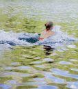 Young woman swimming in a cold lake Royalty Free Stock Photos