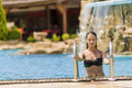 Young woman in the swimming pool Royalty Free Stock Photo