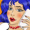 Young woman talkin on mobile phone pop art comic style illustration