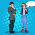 Young Woman Talking with Man. Business Meeting. Pop Art illustration