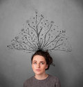 Young woman with tangled lines coming out of her head pretty thinking Stock Photography