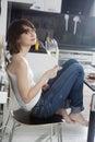 Young woman taste white wine Royalty Free Stock Photo