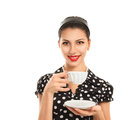 Young woman with tea Royalty Free Stock Image