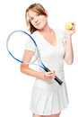 Young woman tennis player with racket on white Royalty Free Stock Photo