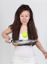Young woman with tennis racket Royalty Free Stock Images