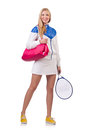 Young woman with tennis raquet Royalty Free Stock Photo