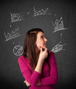 Young woman thinking with charts circulation around her head thoughtful drawn circulating Royalty Free Stock Images