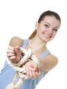 Young woman with tied up hands Royalty Free Stock Image