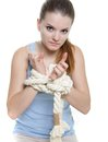Young woman with tied up hands Stock Images
