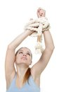Young woman with tied up hands Stock Photos
