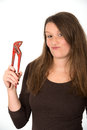 Young woman with tool Royalty Free Stock Photo