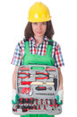 Young woman with toolkit on white Stock Photo