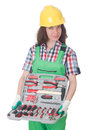 Young woman with toolkit on white Royalty Free Stock Image