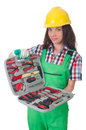 Young woman with toolkit on white Stock Image