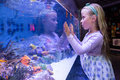 Young woman touching a starfish tank at the aquarium Stock Photo