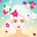 Young woman with towel and cosmetic facial mask among flowers. SPA, resort, beauty salon concept vector illustration