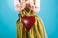 Young woman in traditional clothes dirndl or tracht bavarian with a valentines heart Stock Photos