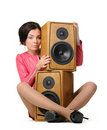 Young woman with two speakers Stock Photography