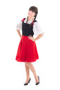Young woman in typical bavarian dress dirndl over white Royalty Free Stock Photos