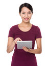 Young woman use of tablet pc isolated on white background Royalty Free Stock Photography